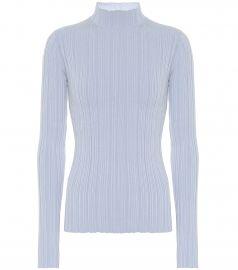 High-neck ribbed cotton-blend top at Mytheresa