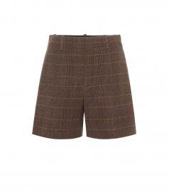 High-rise checked wool shorts at Mytheresa