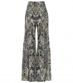High-rise flared silk-blend pants at Mytheresa