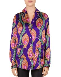 Hindu Flower Print Silk Shirt at The Kooples