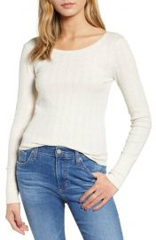 Hinge Pointelle Knit Button Cuff Top at Nordstrom