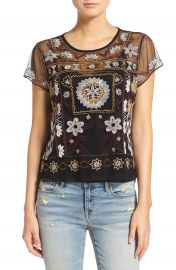 Hinge Embroidered Mesh Short Sleeve Top at Nordstrom