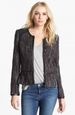Hinge tweed and faux leather trim jacket at Nordstrom