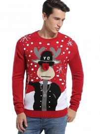 Holiday Reindeer Snowman Santa Snowflakes Sweater by Daisys Boutique at Amazon