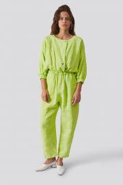Holt Jumpsuit in Lime Heavy Linen at Rachel Comey
