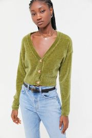 Honey Plush Cropped Cardigan at Urban Outfitters
