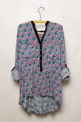 Honore Blouse in Green Motif at Anthropologie