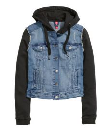 Hooded Denim Jacket in Denim Blue at H&M