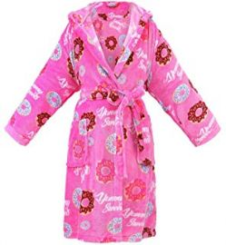 Hooded Flannel Fleece Short Bath Robe with Side Pockets at Amazon