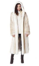 Hooded Full Length Faux Fur Coat by Fabulous Furs at Fabulous Furs