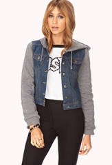 Hooded Jean Jacket at Forever 21