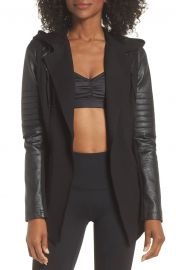Hooded Moto Blazer with Faux Leather Sleeves at Nordstrom