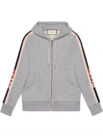 Hooded Zip-Up Sweatshirt with Gucci Stripe at Gucci