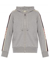 Hooded Zip-Up Sweatshirt with Gucci Stripe at Matches