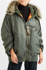 Hooded faux fur-trimmed padded shell parka at Net A Porter