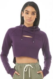 Hooded fleece cutout hoodie at Forever 21