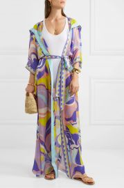 Hooded printed silk-georgette robe at Net a Porter