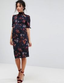 Hope & Ivy Maternity Floral Printed Dress With Velvet Trims at Asos