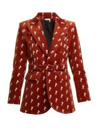 Horse-embroidered cotton-blend velvet jacket at Matches