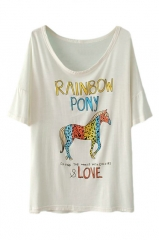 Horse letters tshirt at Romwe