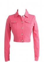 Hot pink denim jacket at Delias at Delias