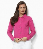 Hot pink denim jacket by Ralph Lauren at Dillards