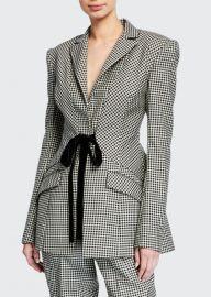 Houndstooth Checked Velvet Tie-Waist Blazer by Prabal Gurung at Bergdorf Goodman