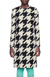 Houndstooth Long Sleeve Silk & Wool Crepe Shift Dress at Nordstrom