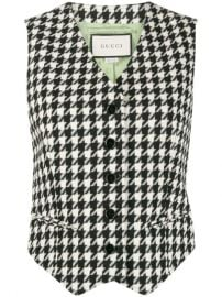 Houndstooth Single Breasted Waistcoat by Gucci at Farfetch