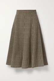 Houndstooth wool midi skirt at Net A Porter