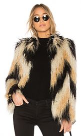 House of Harlow 1960 x REVOLVE Dee Faux Fur Coat in Chevron from Revolve com at Revolve