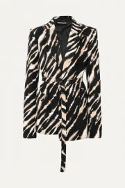 House of Holland - Belted zebra-print cotton-canvas blazer at Net A Porter