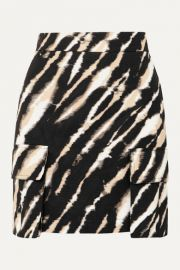 House of Holland - Zebra-print cotton-canvas mini skirt at Net A Porter