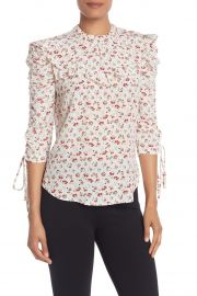 Howell Floral Ruched Sleeve Silk Blouse at Nordstrom Rack