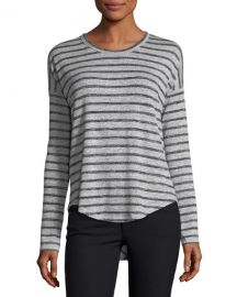 Hudson Crewneck Long-Sleeve Striped Top at Neiman Marcus