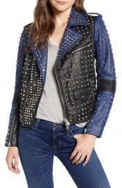 Hudson Jeans Colorblock Studded Lambskin Leather Biker Jacket   Nordstrom at Nordstrom