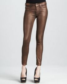 Hudson Nico Copper Minx Glitter Mid-Rise Super Skinny Jeans at Neiman Marcus