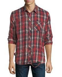 Hudson Weston Plaid Distressed Shirt at Neiman Marcus