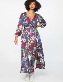 Hummingbird Floral Printed Wrap Maxi Dress at Eloquii