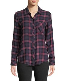 Hunter Long-Sleeve Plaid Button-Front Top at Bergdorf Goodman