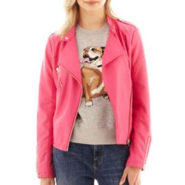 I Heart Ronson Pink Faux Leather Jacket at JC Penney