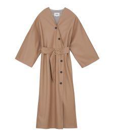 IBEN - Vegan leather Kimono inspired dress at Nanushka