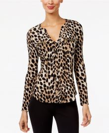 INC International Concepts Printed Zip-Pocket Blouse  at Macys