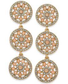 INC International Concepts  Pavé & Colored Stone Flower Triple Drop Earrings at Macys