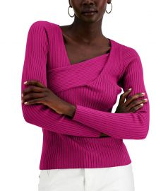 INC International Concepts Asymmetrical Rib Sweater in Jazzy Pink at Macys