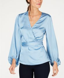 INC International Concepts Belted Wrap Top in Blue Seashore at Macys