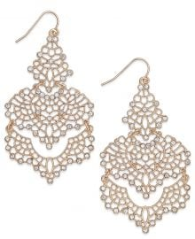 INC International Concepts Crystal Lace Chandelier Earrings at Macys