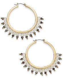 INC International Concepts Gold-Tone Bead & Imitation Pearl Hoop Earrings at Macys