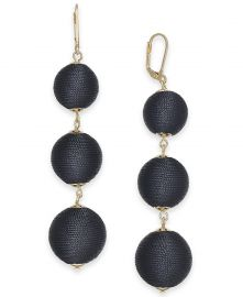 INC International Concepts Gold-Tone Wrapped Ball Triple Drop Earrings at Macys