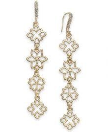 INC International Concepts I N C  Gold-Tone Flower Linear Drop Earrings  Created for Macy s    Reviews - Fashion Jewelry - Jewelry   Watches - Macy s at Macys